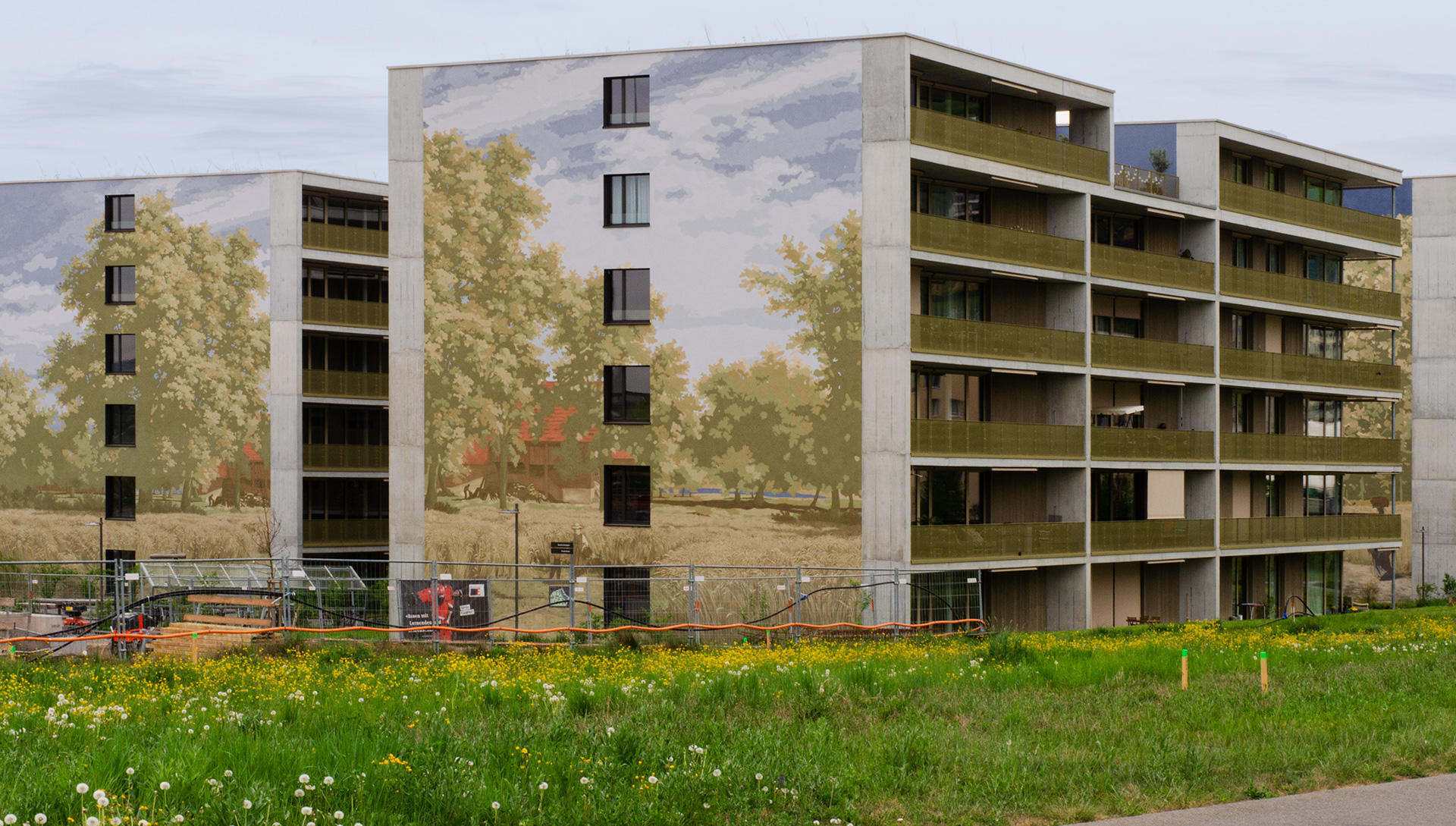 Projekt Schweighof — Formale und farbliche Reduktion im Überformat —Übersicht — l'équipe visuelle – Grafik und Werbung