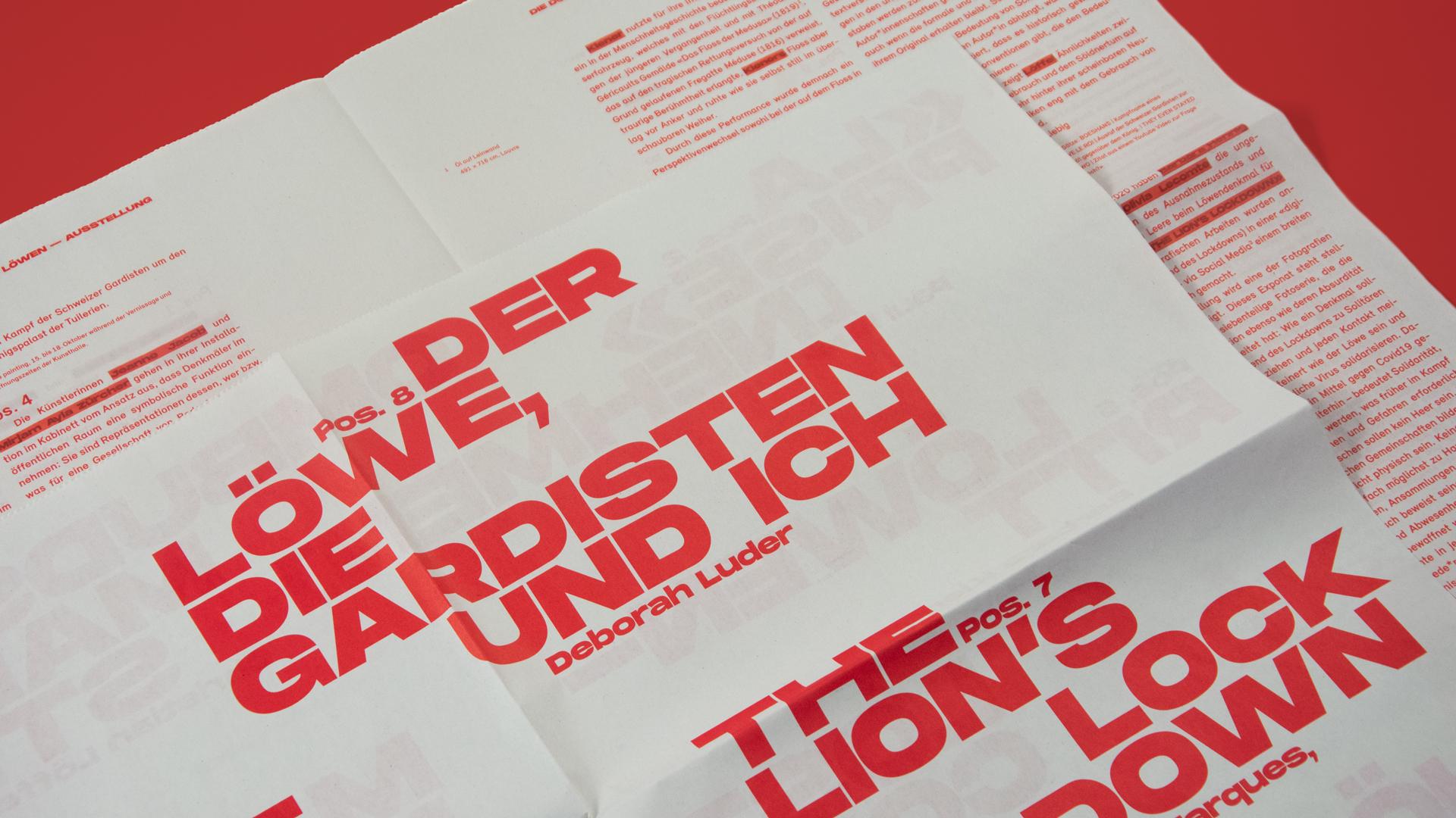 l'équipe [visuelle] –  Löwendenkmal 21 – Corporate Design, Webdesign, UX-Design, Interaction Design, Web-Programming für das Mehrjahresprojekt der Kunsthalle Luzern, Zeitung, Die dunkle Seite des Löwen, The dark side of the Lion