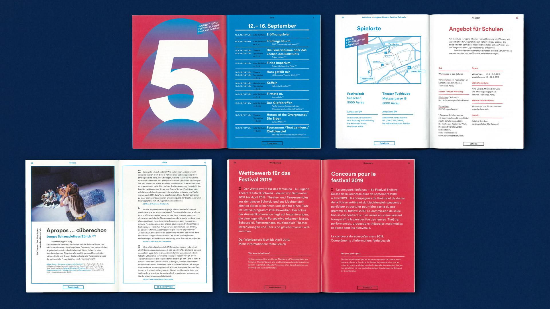 Fanfaluca – Jugend Theater Festival Schweiz — Programmheft, Corporate Design, Plakate, Flyer, Animationen — l'équipe visuelle – Grafik und Werbung