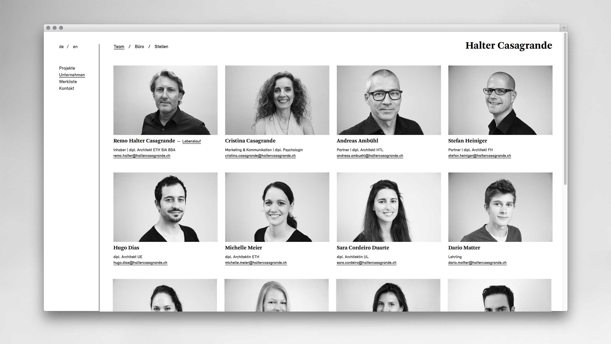 l'équipe [visuelle] Halter Casagrande Architekten Partner AG Corporate Design Web Design