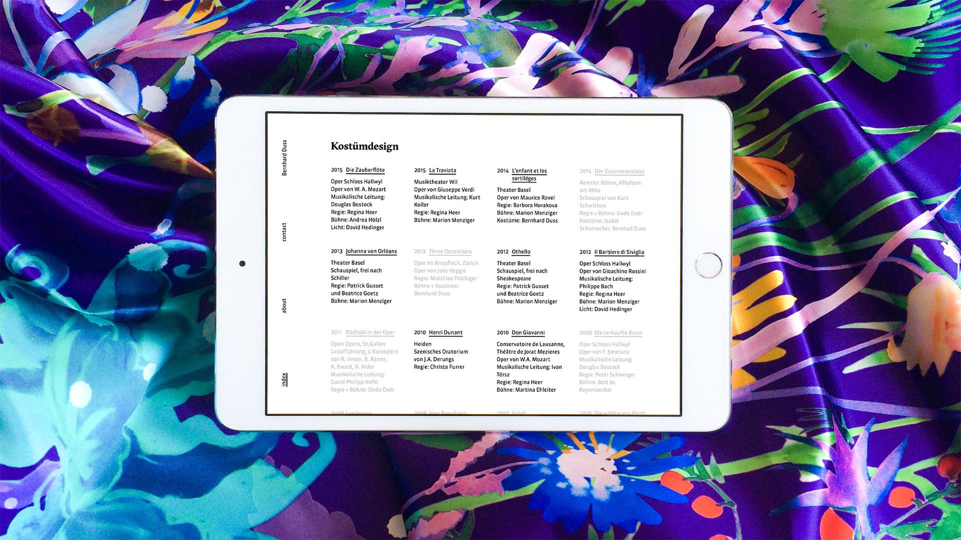 l'équipe [visuelle] – Bernhard Duss – Webdesign, UX-Design, Interaction Design, Web-Programming für den Textildesigner und Ausstellungsmacher