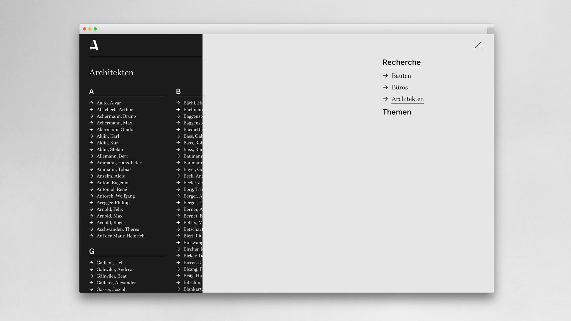 Die Architekturbibliothek, das neue online Lexikon der Schweizer Architektur – Web und Corporate Design – l'équipe visuelle – Grafikatelier