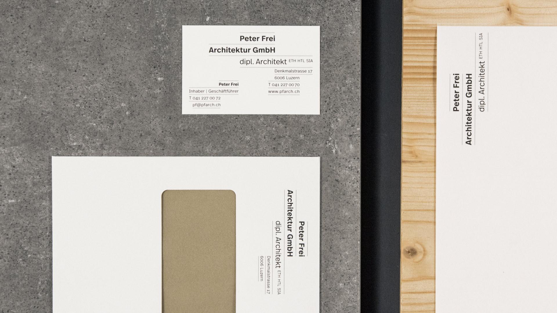 l'équipe [visuelle] – Grafik Agentur Emmenbruecke Luzern – Corporate Design, Webseite, Logo für das Architekturbüro Peter Frei in Luzern