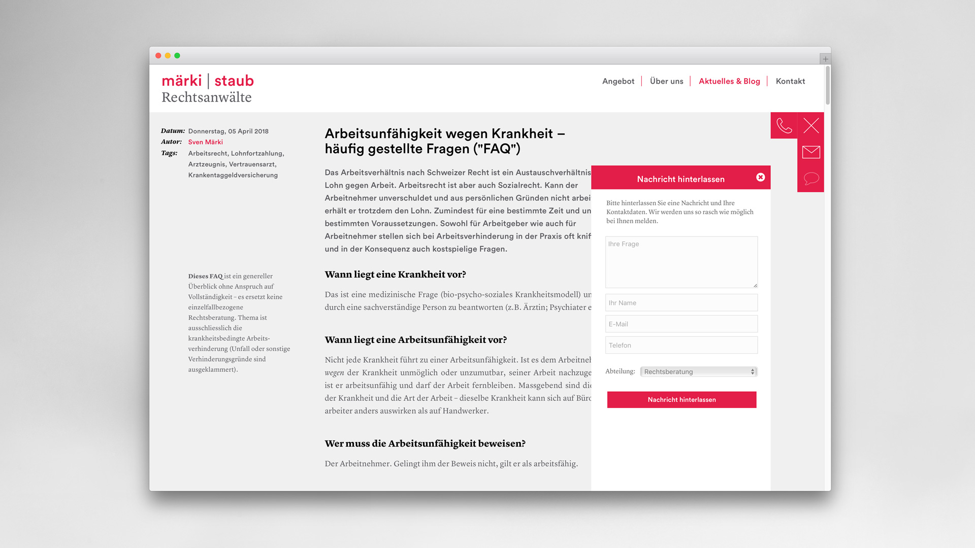 l'équipe [visuelle] – Grafik Agentur Emmenbruecke Luzern – Corporate Design, Webseite, Logo für die märki | staub Rechtsanwälte AG aus Herzogenbuchsee