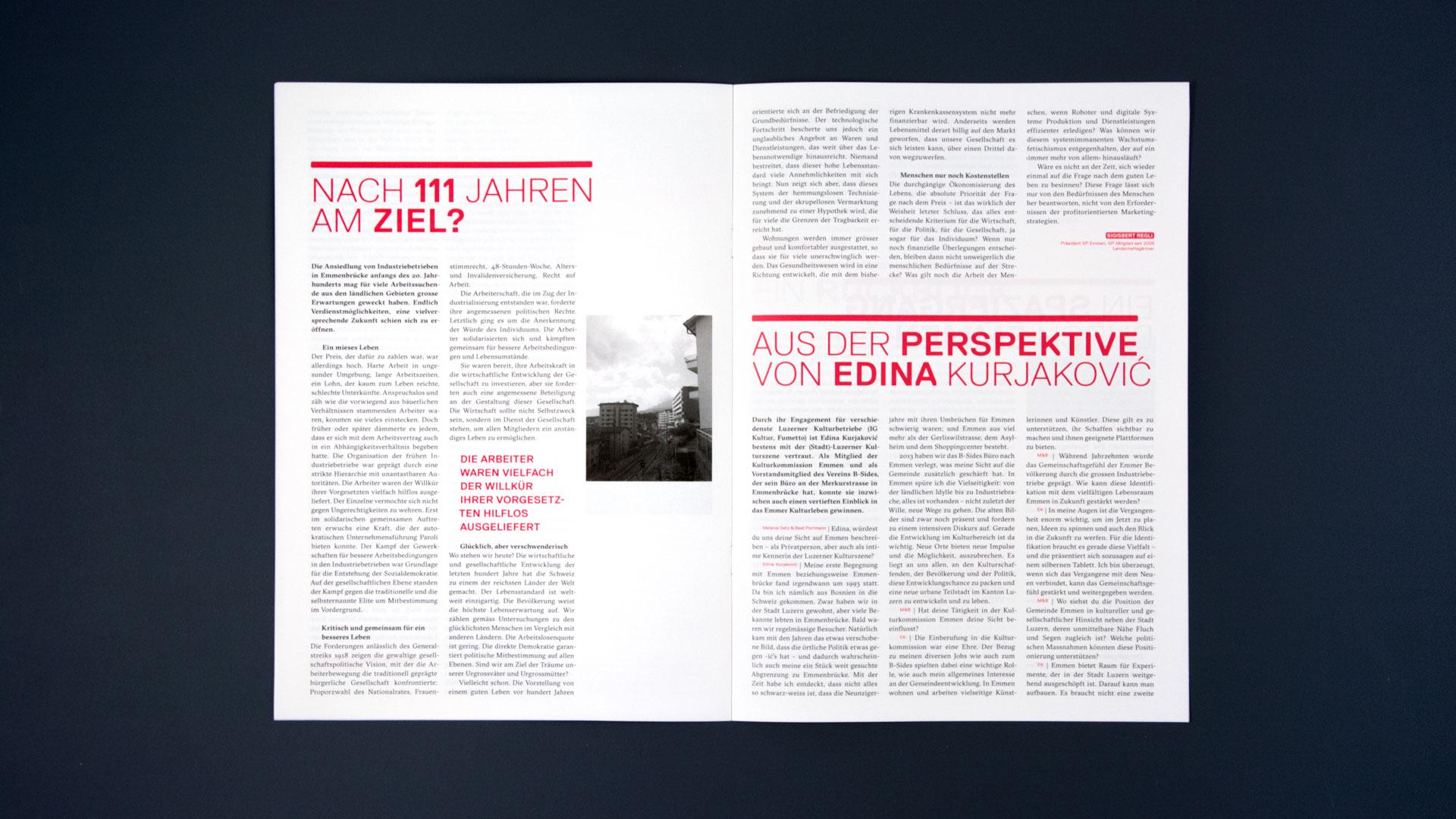 l'équipe [visuelle] – Grafik Agentur Emmenbruecke Luzern –  Jubiläumszeitung, Plakate und Karten für das 111 jährige Jubiläum der SP Emmen