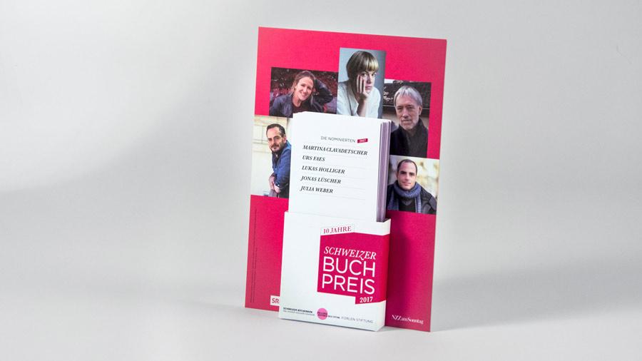 l'équipe [visuelle] – Grafik Agentur Emmenbruecke Luzern –  Redesign und Ausführung der alljährlichen Werbemittel für den Schweizer Buchpreis von LiteraturBasel und dem Schweizer Buchhändler- und Verleger-Verband SBVV