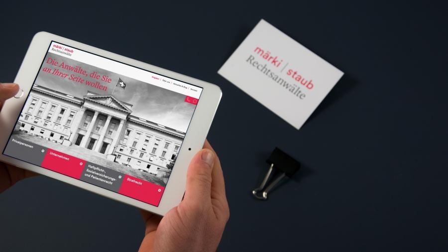 l'équipe [visuelle] – Grafik Agentur Emmenbruecke Luzern – Corporate Design, Webseite, Logo für die märki | staub Rechtsanwälte AG aus Herzogenbuchsee